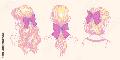 Photographie Hairstyles with bows and ribbons