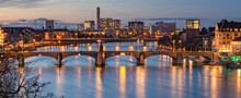Middle Bridge Across Rhine During Sunset In Basel