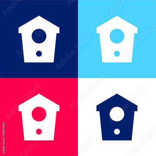 Billede på lærred Birdhouse blue and red four color minimal icon set