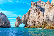 Cabo San Lucas, Baja California Sur, El Arco In The Mexican Peninsula Surrounded By The Sea Of Cuts And The Pacific Ocean With Clear Skies And Calm Sea