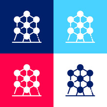 Atomium Blue And Red Four Color Minimal Icon Set