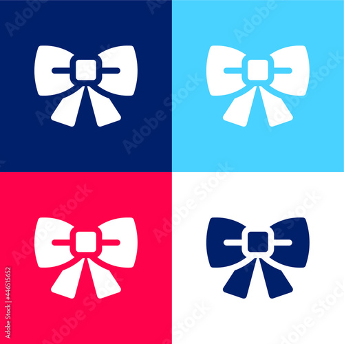 Foto Bow Tie blue and red four color minimal icon set