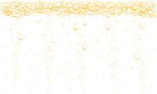 Golden Bubbles Stream Background. Sparkling Fizzy Drink, Carbonated Water, Beer, Soda, Lemonade, Champagne Texture. Vector Realistic Illustration.