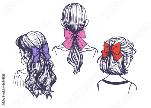 Tableau sur Toile Hairstyles with hair bows