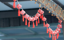 Hang On The Ceiling A Row Of Decorative Red Plastic Bulbs Lantern.