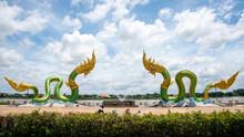 Twin Green Naga Statue At The Mekong River, Wat Lamduan Temple, Nong Khai Province Thailand. Most Famous Landmark. Panorama Size