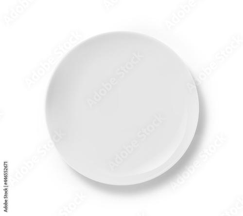 Billede på lærred Top view of white ceramic plate isolated on white background