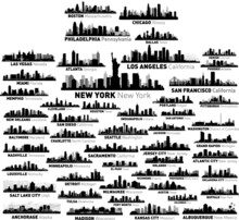 World Famous Cities Silhouettes