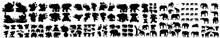 Elephant Silhouette Vector Set, Set Of Elephant Silhouettes. Elephant Shadow Hand Drawn. Flat Vector Illustration. Elephant Silhouettes, Silhouette Of Elephant With Baby Elephant, Elephant Silhouette