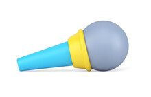Professional Microphone 3d Icon. Audio Equipment For Sound Amplification And Voice Recording