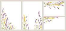 Birthday Or Wedding Invitation Cards With Honey Plant. Vector Design Element, Wreaths Of Lavender, Chamomile, Wheat Ears And Bee, Medicinal Herbs, Calligraphy Lettering. EPS 10.