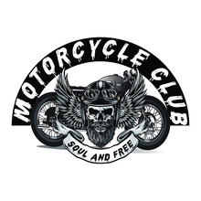 Motorcycle Club Soul And Free Slogan T Shirt Design