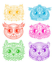 Owls. Heads. Design Zentangle. Hand Drawn Owl With Abstract Patterns On Isolation Background. Design For Spiritual Relaxation For Adults
