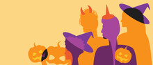 Silhouette Of People At A Halloween Party, Copy Space Template, Silhouette Branch Stock Illustration With People In Halloween Costumes, Hats
