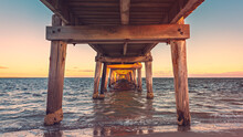 Marion Bay Jetty Viewed From Underneath At Sunset, Yorke Peninsula, South Australia