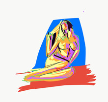 Illustration Of Naked Woman On Mat