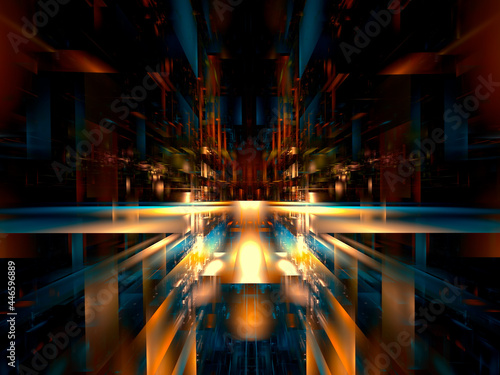 Fotografie, Obraz Space station or future city street - abstract 3d illustration