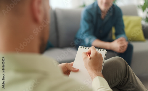 Professional therapist meeting a patient in his office