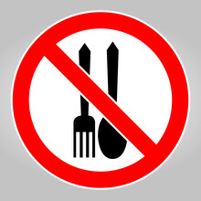 No Food Allowed Symbol On White Background