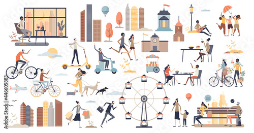 City life scenes and daily urban routine elements tiny person collection set. Environment with real estate, business office, transportation, family recreation and everyday moments vector illustration.