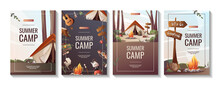 Set Of Promo Flyers For Summer Camping, Traveling, Trip, Hiking, Camper, Nature, Journey, Picnic. A4 Vector Illustration For Poster, Banner, Flyer, Cover, Special Offer, Advertising.