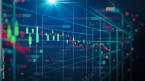 Leinwand Poster Stock market or forex trading graph and candlestick chart suitable for financial investment concept
