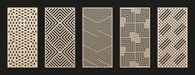 Laser Cut Patterns Collection. Vector Set With Abstract Geometric Ornament, Lines, Stripes, Grid, Lattice. Decorative Stencil For Laser Cutting Of Wood Panel, Metal, Plastic, Paper. Aspect Ratio 1:2