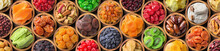 Various Dried Fruits And Berries In Bowls, Top View. Panoramic Food Background.