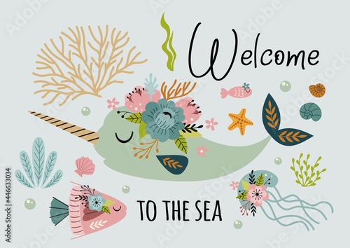 beautiful marine poster with narwhal, jellyfish, fish Fototapet