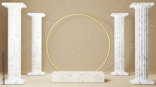 Canvas Print 3D rendering of Square marble plinth and Greek columns background