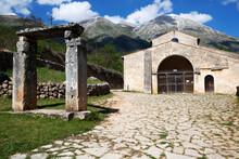 The Gate Of Paradise, The Church Of Santa Maria In Valle With Mount Velino In The Background, Abruzzo Marsicano, Abruzzo, Italy