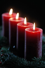 Natural Advent Wreath Or Crown With Four Burning Red Candles, Christmas Composition, France