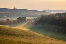 Misty Landscape With Beacon Hill And Ladle Hill, Highclere, North Wessex Downs AONB (Area Of Outstanding Natural Beauty), Hampshire, England
