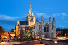 The West Front Of The Norman Built Rochester Cathedral Floodlit At Night, Rochester, Kent, England