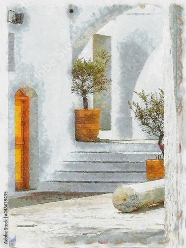 Fotografering Digital Painting Greek Alleyway