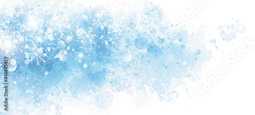 Cuadros en Lienzo Winter and Christmas background design of snowflake on blue watercolor with copy