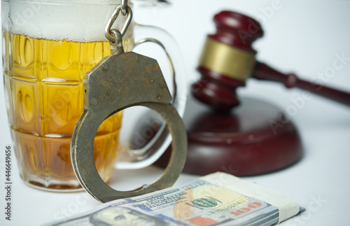 Canvas Print Alcohol offenses concept.Glass of whiskey with moneys.