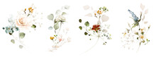 Set Watercolor Arrangements With Garden Plant. Collection Pink, Yellow Flowers, Leaves, Branches. Botanic Illustration Isolated On White Background.