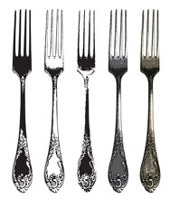 Set Of Five Realistic Forks In Retro Style. Vintage Silverware Or Flatware Vector Illustration. Beautiful Silver Or Metal Cutlery Isolated On White Background. Old Tableware