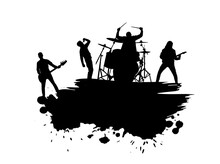 Alternative Band Musicians Silhouettes With Scatter Brushes