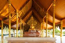 Ubon Ratchathani, Thailand, July 3, 2021. Big Golden Buddha Statue At Sirindhorn Wararam Phu Prao Temple. Ubon Ratchathani Province, Thailand
