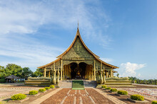 Beautiful Sirindhorn Wararam Phu Prao Temple ( Wat Phu Prao ) In The Clear Blue Sky, Ubon Ratchathani Province, Thailand