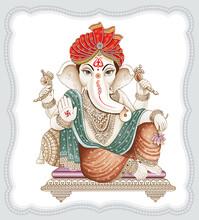 High Resolution Indian Gods Ganesha Digital Painting