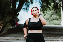 Plus Size Young Latin Woman Running  In Park In Mexico