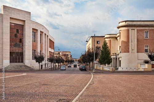 Canvastavla Predappio, Emilia-Romagna, Italy: the main avenue of the town with the old build