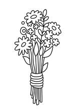 Bouquet Of Wild Flowers. Elegant Flower Emblem, Botanical Logo, Sign, Outline Icon, Simple Linear Vector Illustration. Minimal Design.
