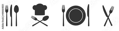 Fotografie, Obraz Fork knife and spoon restaurant gastronomy icons