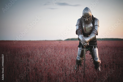 Fotografie, Obraz The tired knight in the plate armor stands among the battlefield with a sword