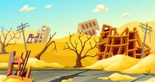 Destroyed Buildings After Sandstorm, Earthquake, Storm, Tornado, Natural Disaster. Derelict Broken Houses In Desert. Cartoon Game Landscape With Mountains Of Sand.