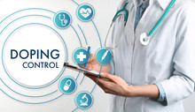 Doping Control. Virtual Icons And Doctor With Clipboard On Light Background, Closeup